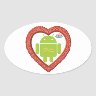 Bug Droid Heart (Love) Two Gold Rings Pink Cake Oval Sticker