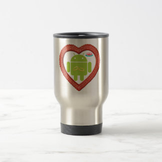 Bug Droid Heart (Love) Two Gold Rings Pink Cake Travel Mug