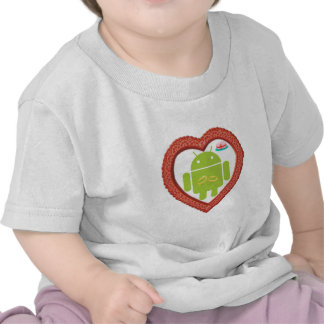 Bug Droid Heart (Love) Two Gold Rings Pink Cake Tee Shirts