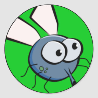 Bug Eyed Fly Face Classic Round Sticker