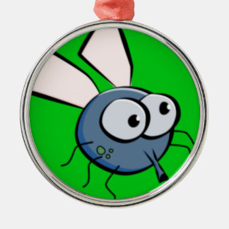 Bug Eyed Fly Face Metal Ornament