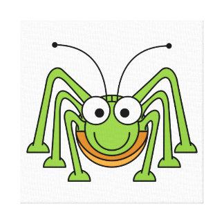 Bug Eyed Grasshopper Cartoon Stretched Canvas Print