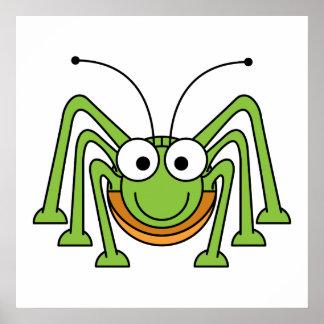 Bug Eyed Grasshopper Cartoon Poster