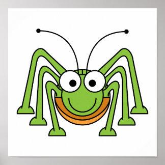 Bug Eyed Grasshopper Cartoon Posters