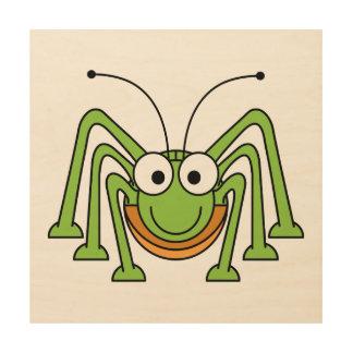 Bug Eyed Grasshopper Cartoon Wood Prints
