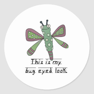 Bug Eyed Look Butterfly Classic Round Sticker