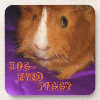 BUG-EYED PIGGY Guinea Pig Coasters - Set of 6