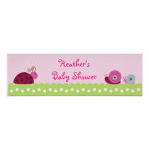Bug Garden Ladybug Snail Baby Shower Banner Sign