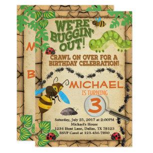 Bug Insect Birthday Party Invitation Invite Boy