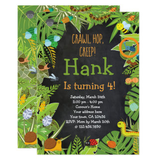 Bug Insect Invitation, Chalkboard Card