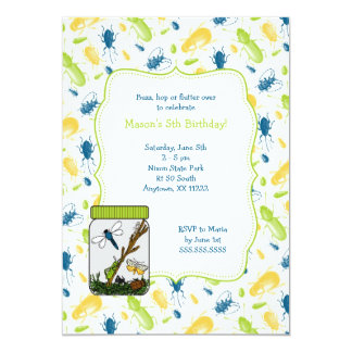 Bug Jar Birthday Party invite with insects