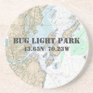 Bug Light Park, Maine Authentic Boating Chart Drink Coaster