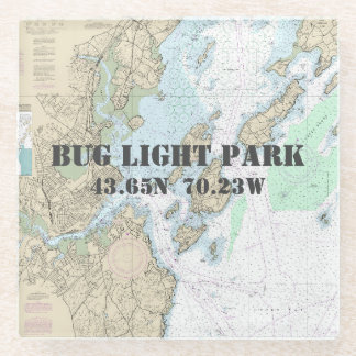 Bug Light Park, Maine Authentic Boating Chart Glass Coaster