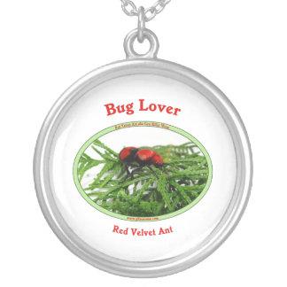 Bug Lover Red Velvet Ant Round Pendant Necklace
