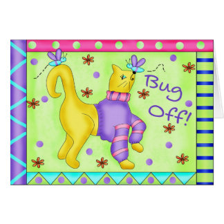 Bug Off Cat Note Card or Greeting Card