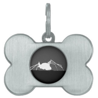 bug on a roof in black and white pet name tag