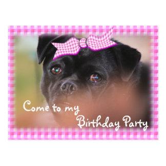 Bug-Puppy Pk Plaid Postcard-Invitation-customize