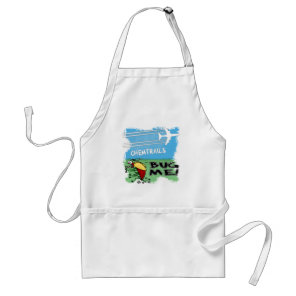 Bug running away from chemtrail plane adult apron