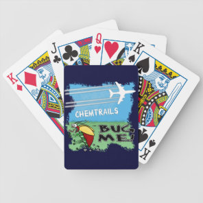 Bug running away from chemtrail plane bicycle playing cards