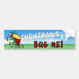 Bug running away from chemtrail plane bumper sticker