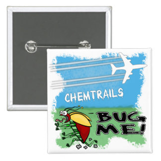 Bug running away from chemtrail plane pinback buttons