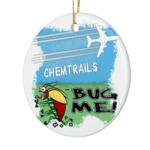 Bug running away from chemtrail plane ceramic ornament