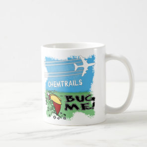 Bug running away from chemtrail plane coffee mug