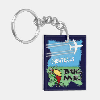 Bug running away from chemtrail plane keychain