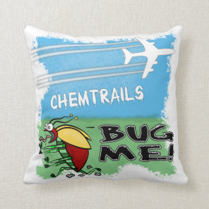Bug running away from chemtrail plane throw pillow
