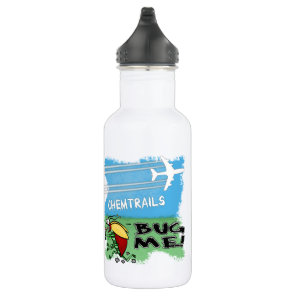 Bug running away from chemtrail plane water bottle