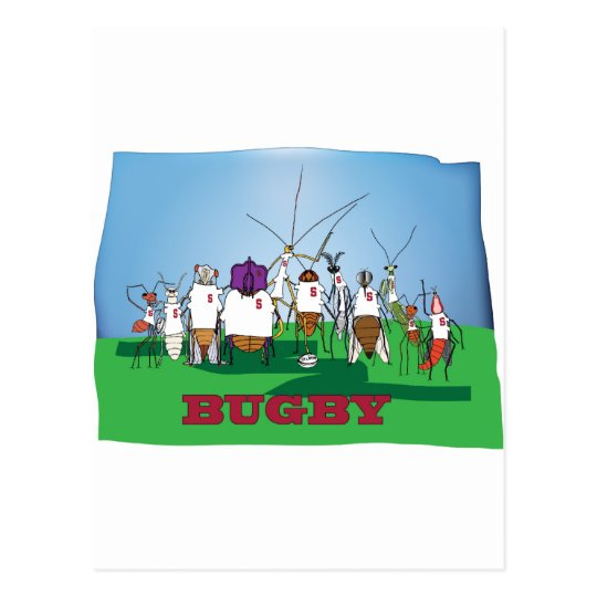 Bugby- because bugs play ball too! postcard