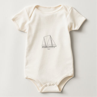 Bugeye Sailboat (line art) Baby Bodysuit