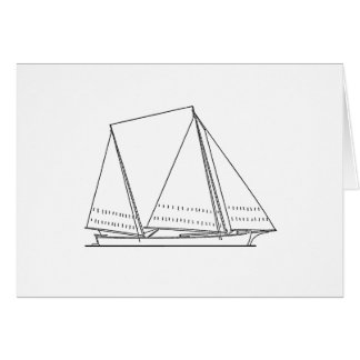 Bugeye Sailboat (line art) Card