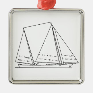 Bugeye Sailboat (line art) Metal Ornament