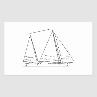 Bugeye Sailboat (line art) Rectangular Sticker