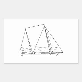 Bugeye Sailboat (line art) Rectangular Sticker