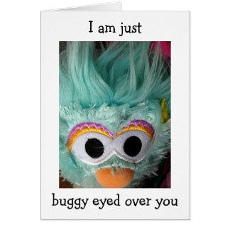 BUGGED EYED GREEN MONSTER HAPPY BIRTHDAY CARD