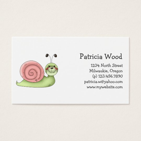 Buggin' You · Green & Pink Snail Business Card