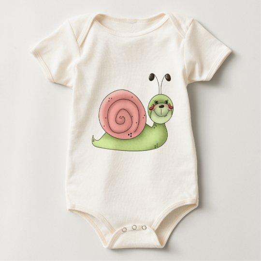 Buggin' You · Snail · green & pink Baby Bodysuit