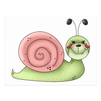 Buggin' You · Snail · green & pink Postcards