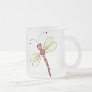 Buggin' You Too · Red Dragonfly Frosted Glass Coffee Mug