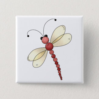 Buggin' You Too · Red Dragonfly Pinback Button