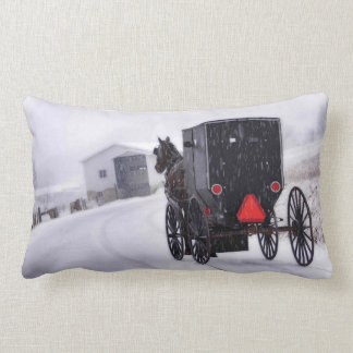 Buggy In Snow Lumbar Pillow