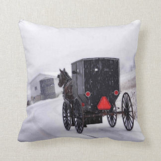 Buggy In Snow Throw Pillow