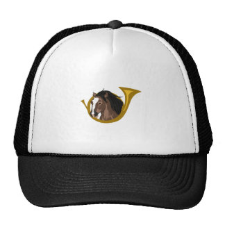 BUGLE AND HORSE TRUCKER HAT