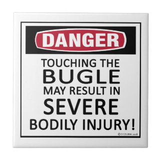 Bugle del peligro azulejo cerámica