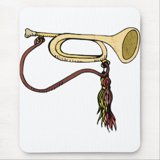 Bugle Horn With Cord Graphic Image Trumpet Design Mouse Pad