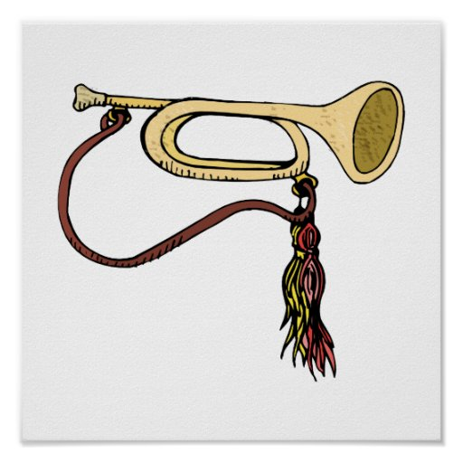Bugle Horn With Cord Graphic Image Trumpet Design Print