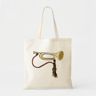 Bugle Horn With Cord Graphic Image Trumpet Design Tote Bag