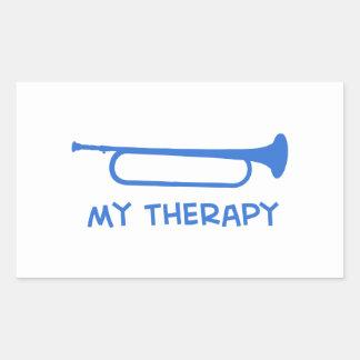 Bugle mi terapia pegatina rectangular